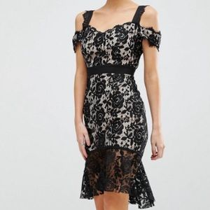 NWT Petite Paper Dolls London black lace dress